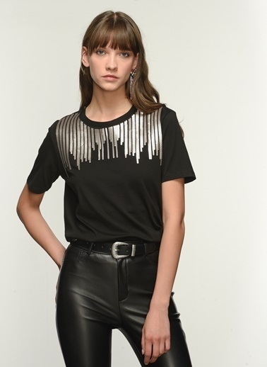 NGSTYLE NGKAW21TS0014 Payet İşlemeli Tshirt Siyah